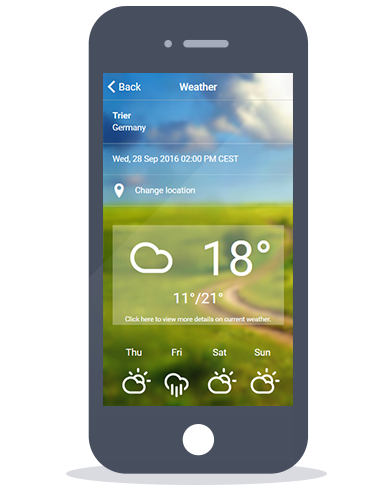 Siberian CMS App Maker's Weather feature